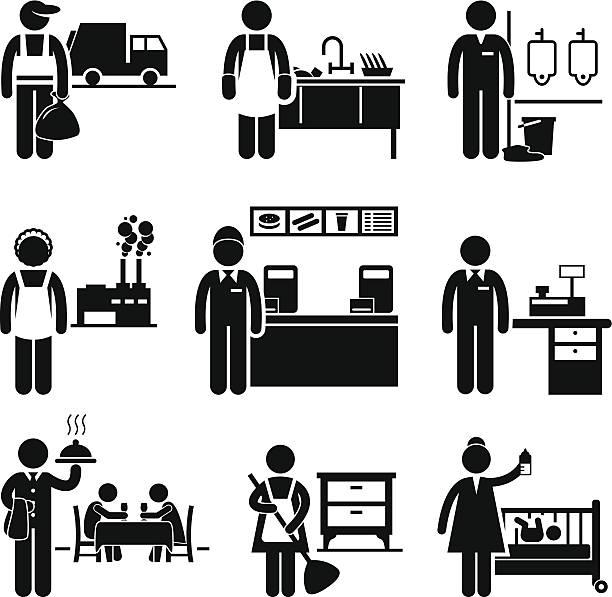 niedrige einkommen arbeitsplätze berufe karriere - gewerbliche küche stock-grafiken, -clipart, -cartoons und -symbole