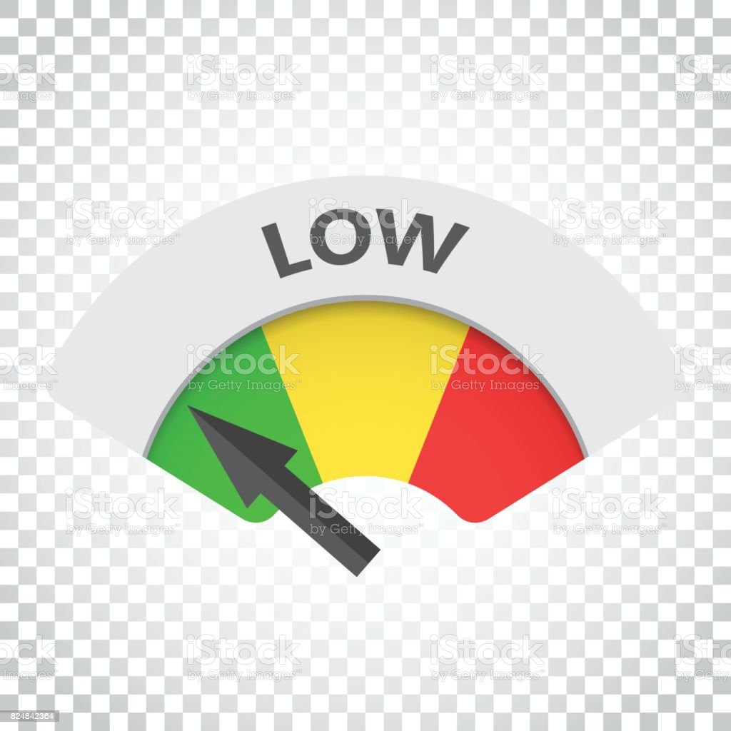 Low level risk gauge vector icon. Low fuel illustration on isolated background. Simple business concept pictogram. vector art illustration