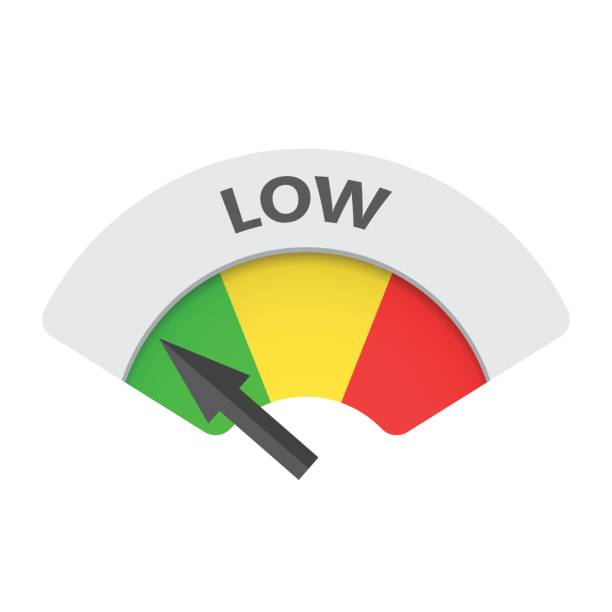 Low level risk gauge vector icon. Low fuel illustration on white background. Low level risk gauge vector icon. Low fuel illustration on white background. low stock illustrations