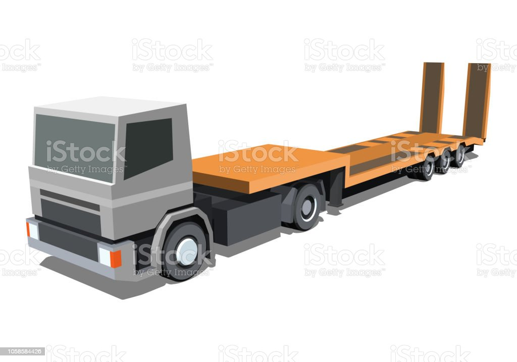Low loader trailer truck icon