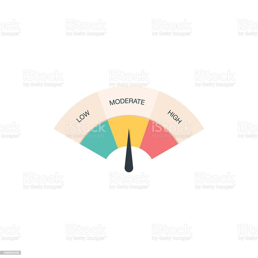 Low, Moderate and High gauges royalty-free low moderate and high gauges stock illustration - download image now