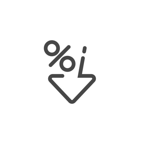 Low percent interest. Percent down icon in linear style. Vector Low percent interest. Percent down icon in linear style. Vector illustration low stock illustrations
