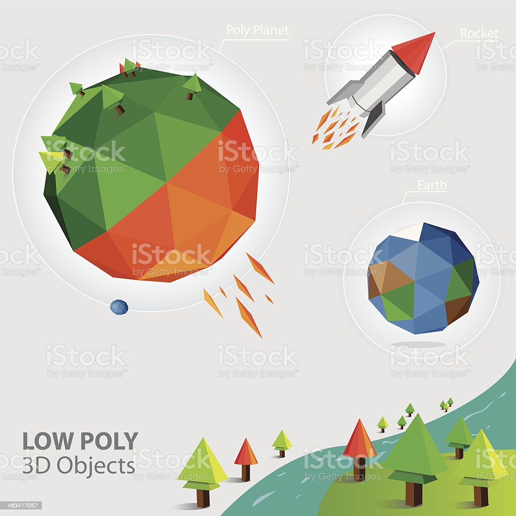 Low Poly 3D Object royalty-free stock vector art