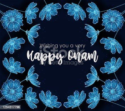 istock Low poly abstarct flowers. Happy Onam template. 1254517796