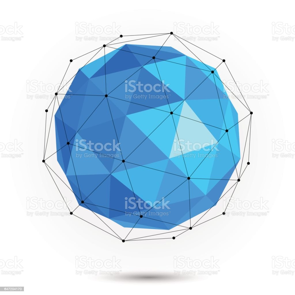 Low poly abstract sphere. Vector vector art illustration