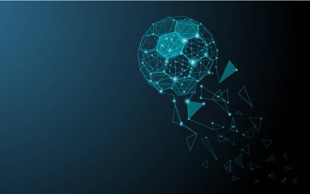 stockillustraties, clipart, cartoons en iconen met lage poly abstracte trinagles en zeshoeken voetbal geïsoleerd op donker blauwe achtergrond. - samen sporten