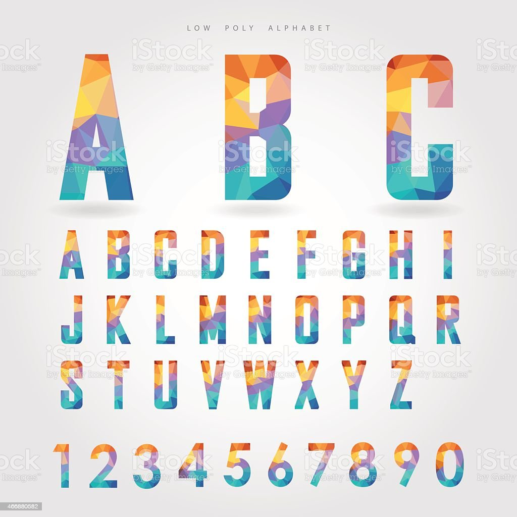 low poly alphabet and number on polygon concept vector art illustration