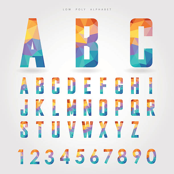 stockillustraties, clipart, cartoons en iconen met low poly alphabet and number on polygon concept - triangel