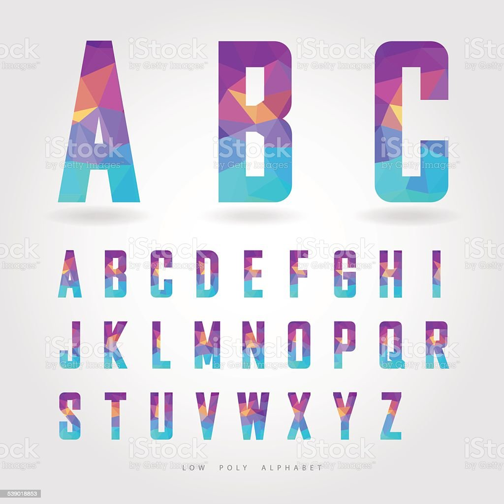 low poly alphabet on polygon concept vector art illustration