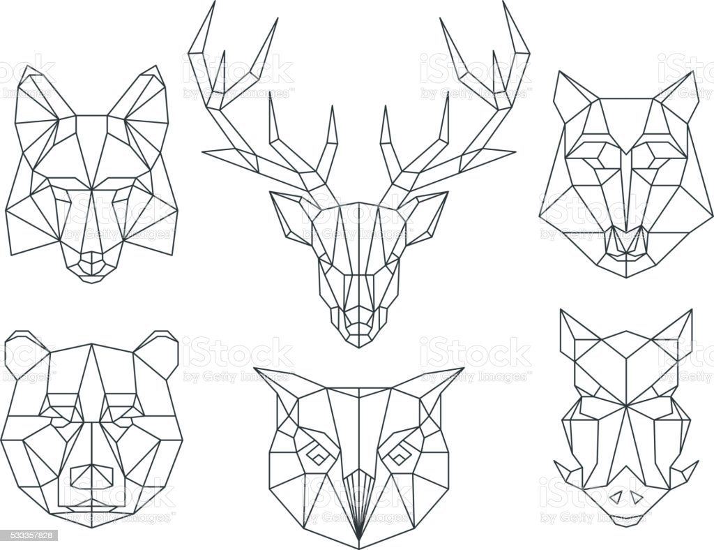 Vector Line Art Animals : Low poly animals heads triangular thin line vector set