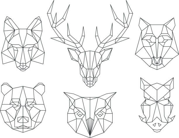 低ポリ動物の頭部。三角形の細いラインベクトルセット - 動物のタトゥー点のイラスト素材/クリップアート素材/マンガ素材/アイコン素材