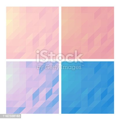 Low poly backgrounds set polygonal backdrops collection of pastel colored designs copy space cards