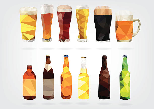 Low Poly Beer Bottles and Glasses vector art illustration