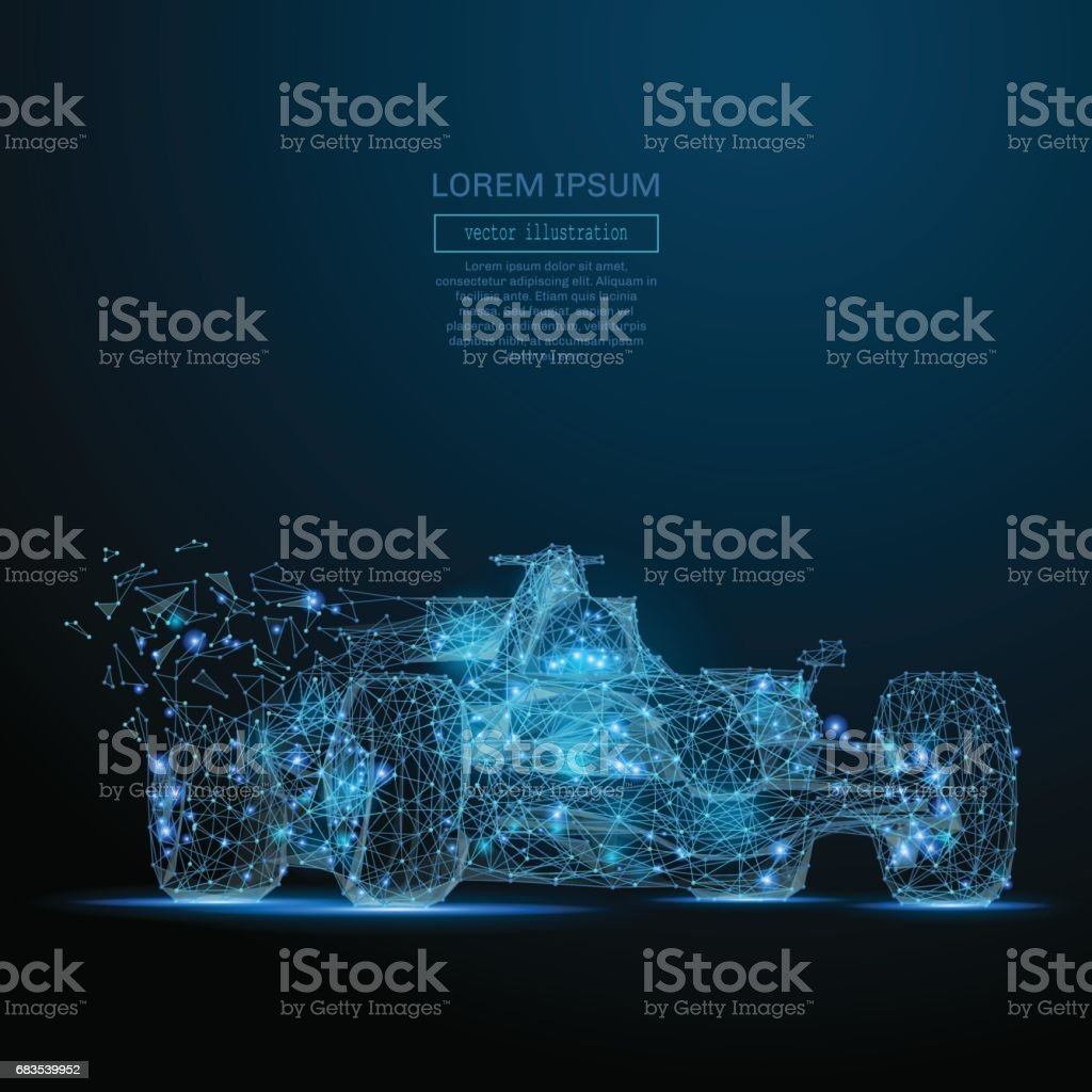 F1 CAR low poly blue vector art illustration