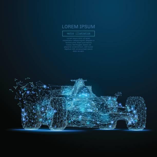 f1 car low poly blue - formula 1 stock illustrations