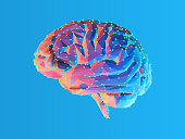 istock Low poly brain illustration isolated on blue BG 1090942270