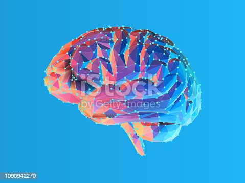 Colorful blue and pink low poly side view human brain illustration with connection dots isolated on bright blue background