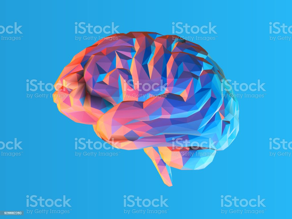 Low poly brain illustration isolated on blue BG vector art illustration
