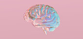 Colorful pastel pink and blue low polygonal brain illustration isolated on pink color banner background