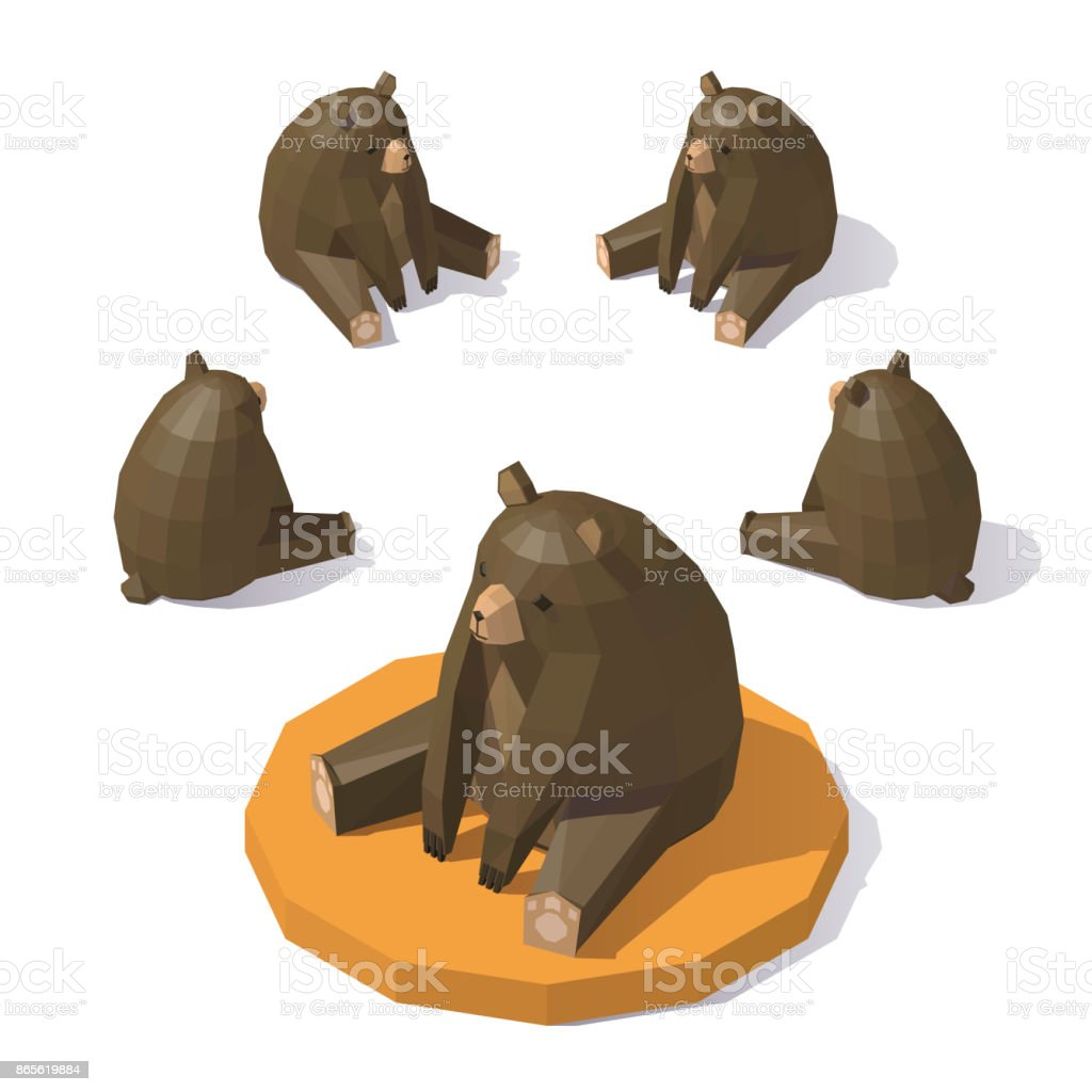 Low poly Brown bear