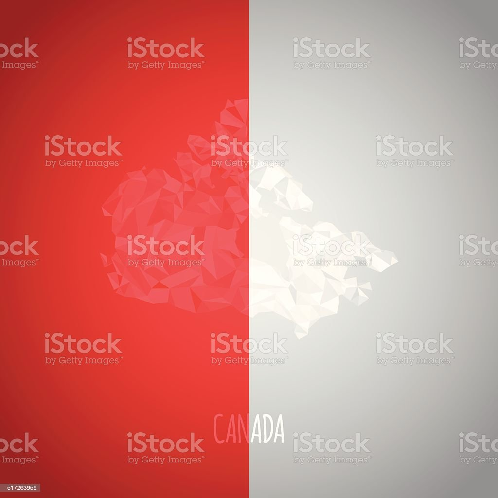 Low Poly Canada Map with National Colors vector art illustration
