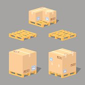 Low poly cardboard boxes on the pallets