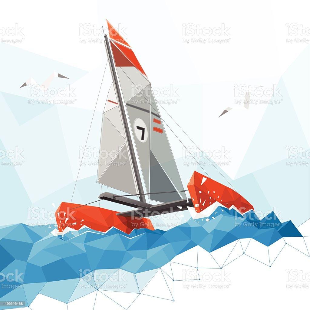 Low poly catamaran vector art illustration