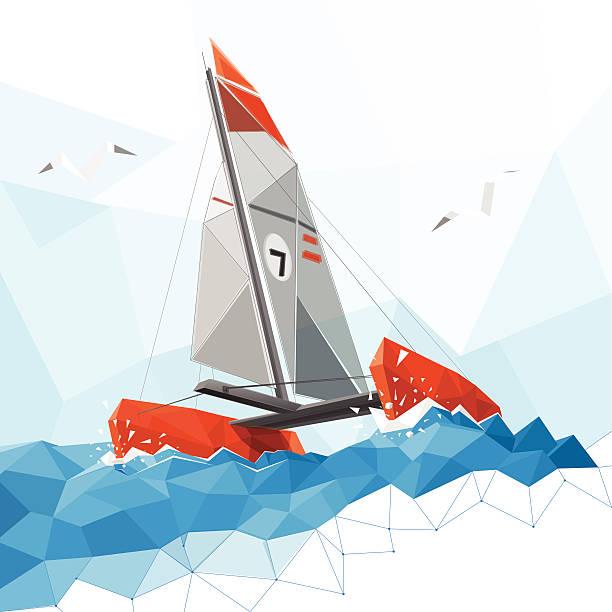 bildbanksillustrationer, clip art samt tecknat material och ikoner med low poly catamaran - katamaran