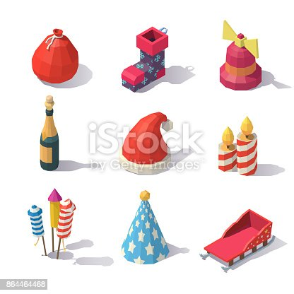 873264516istockphoto Low poly Christmas accessories 864464468