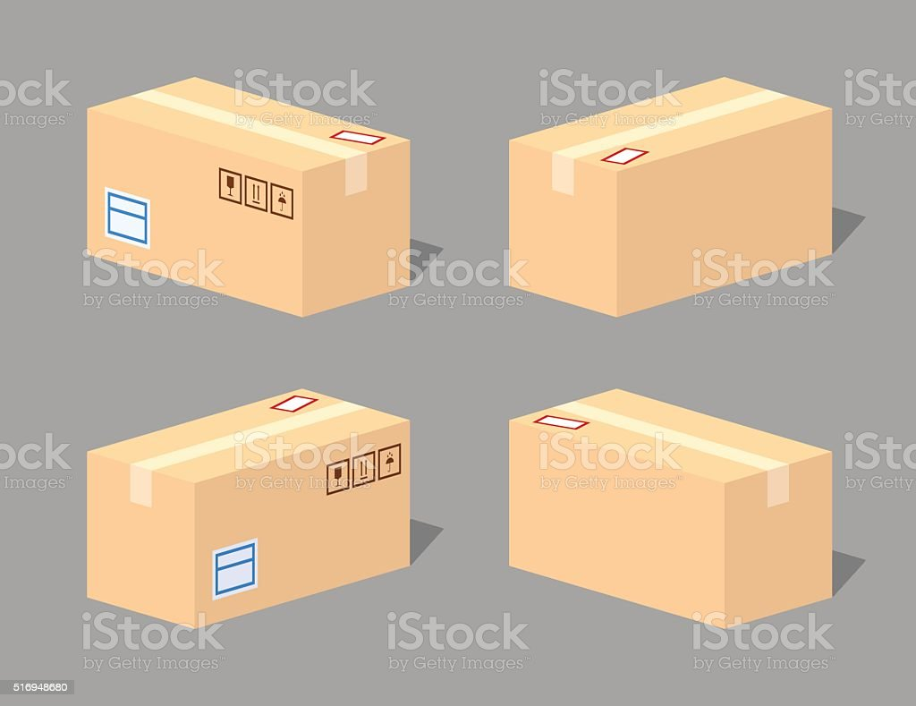 low poly closed cardboard box stock vector art more images of