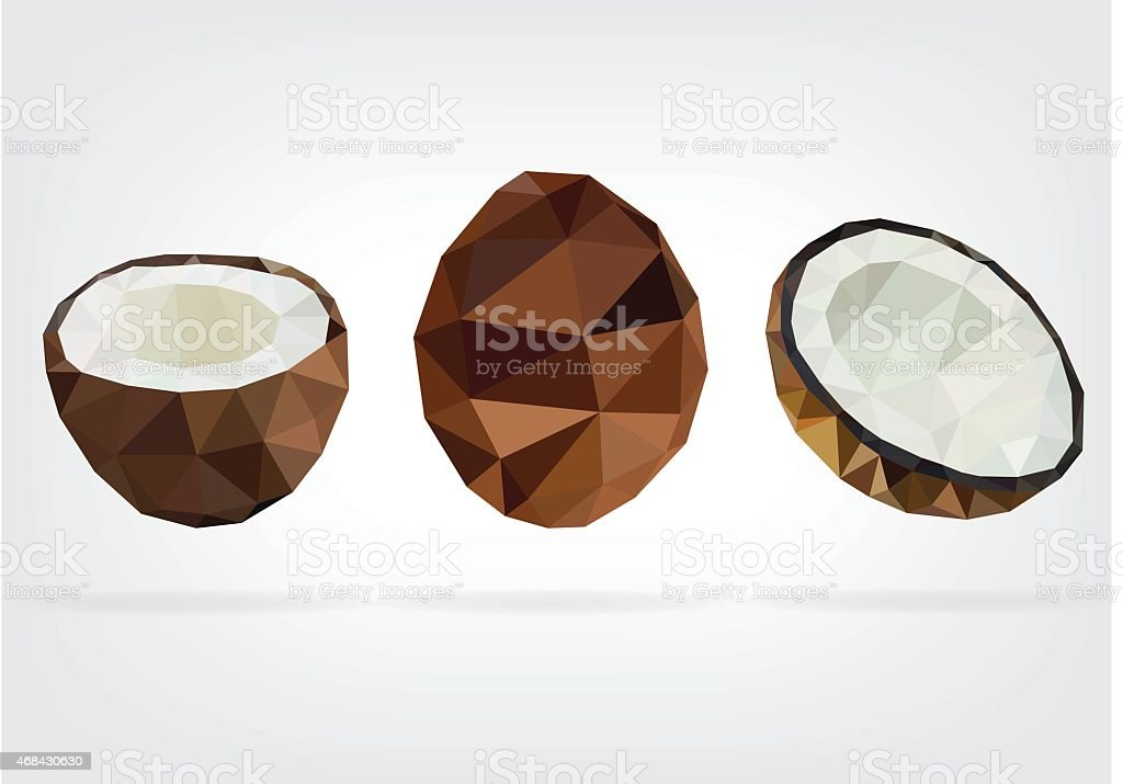 Low Poly Coconut vector art illustration