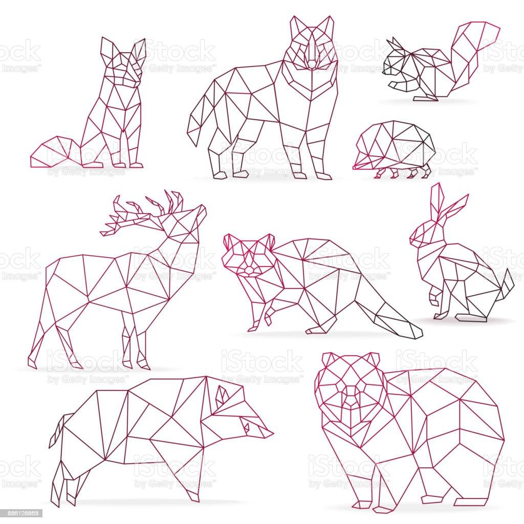 Low Poly Color Gradient Line Animals Set Origami Poligonal Wolf Bear