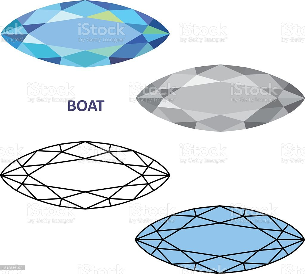 Low Poly Colored Black Outline Template Boat Gem Cut Stock Vector