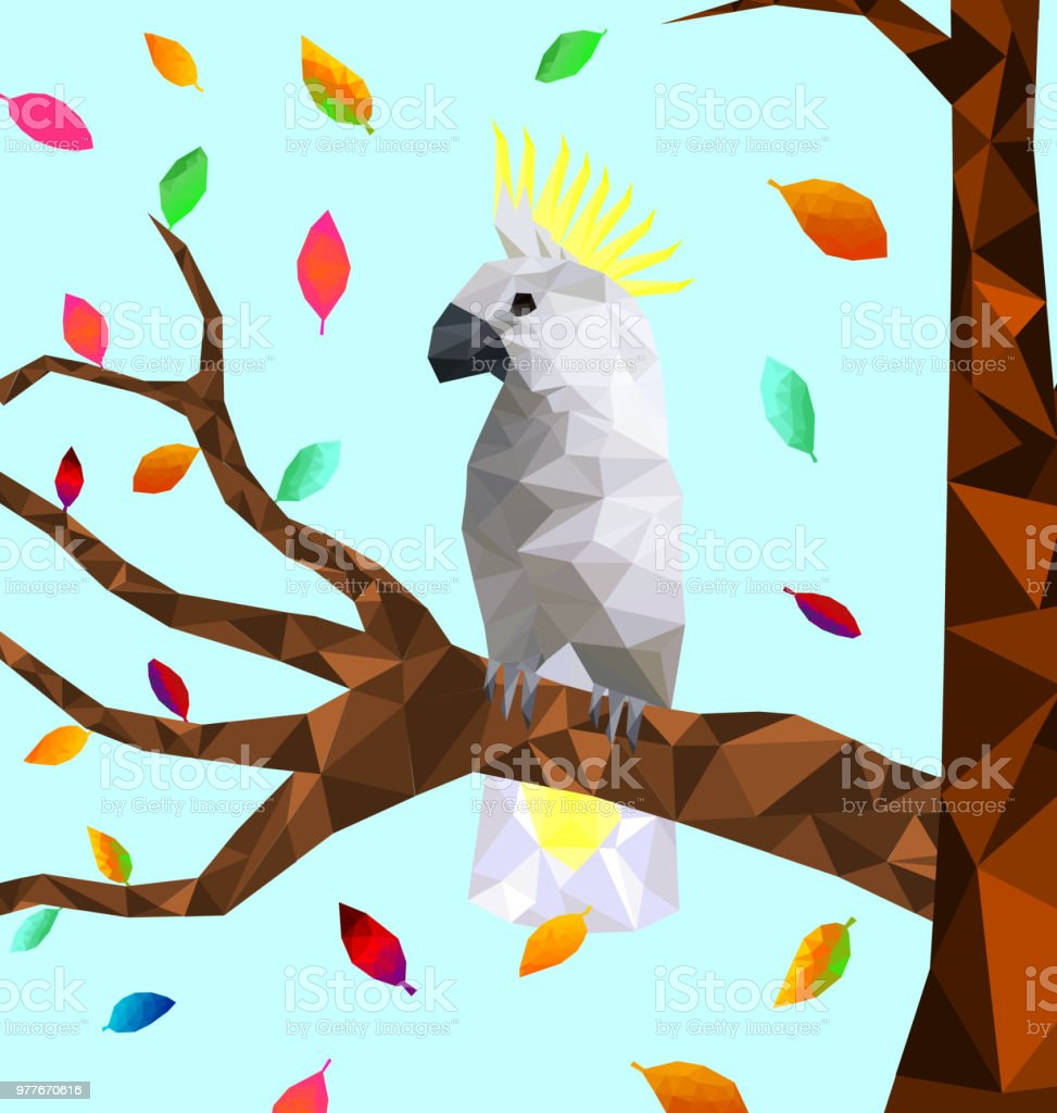Low Poly Colorful Cockatoo Bird With Tree On Back Ground