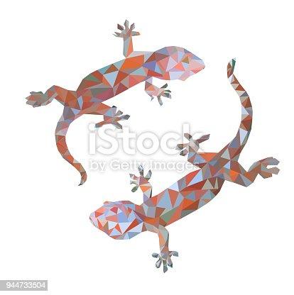 Ilustración de Gecko Colorido Polivinílico Baja Con Arco Iris De ...