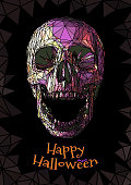 Low poly colorful skull with Stained glasson effect on dark background for halloween greeting