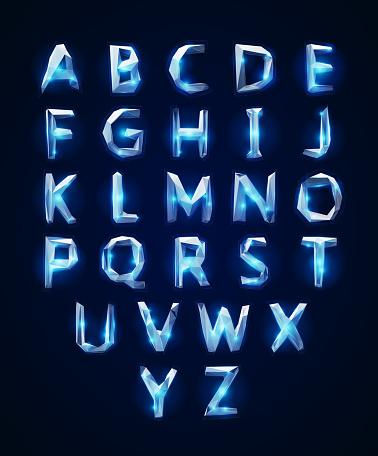 Low poly cristal alphabet font. Vector illustration EPS 10