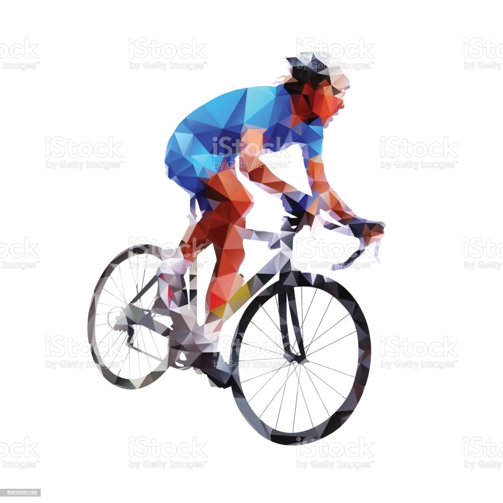 Low poly cyclist in blue jersey. Road cycling vector art illustration