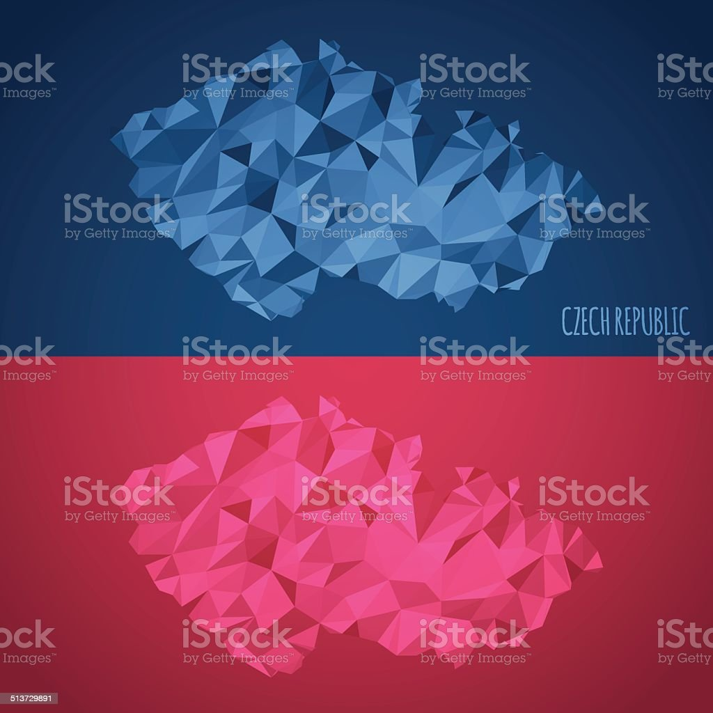 Low Poly Czech Republic Map with National Colors vector art illustration