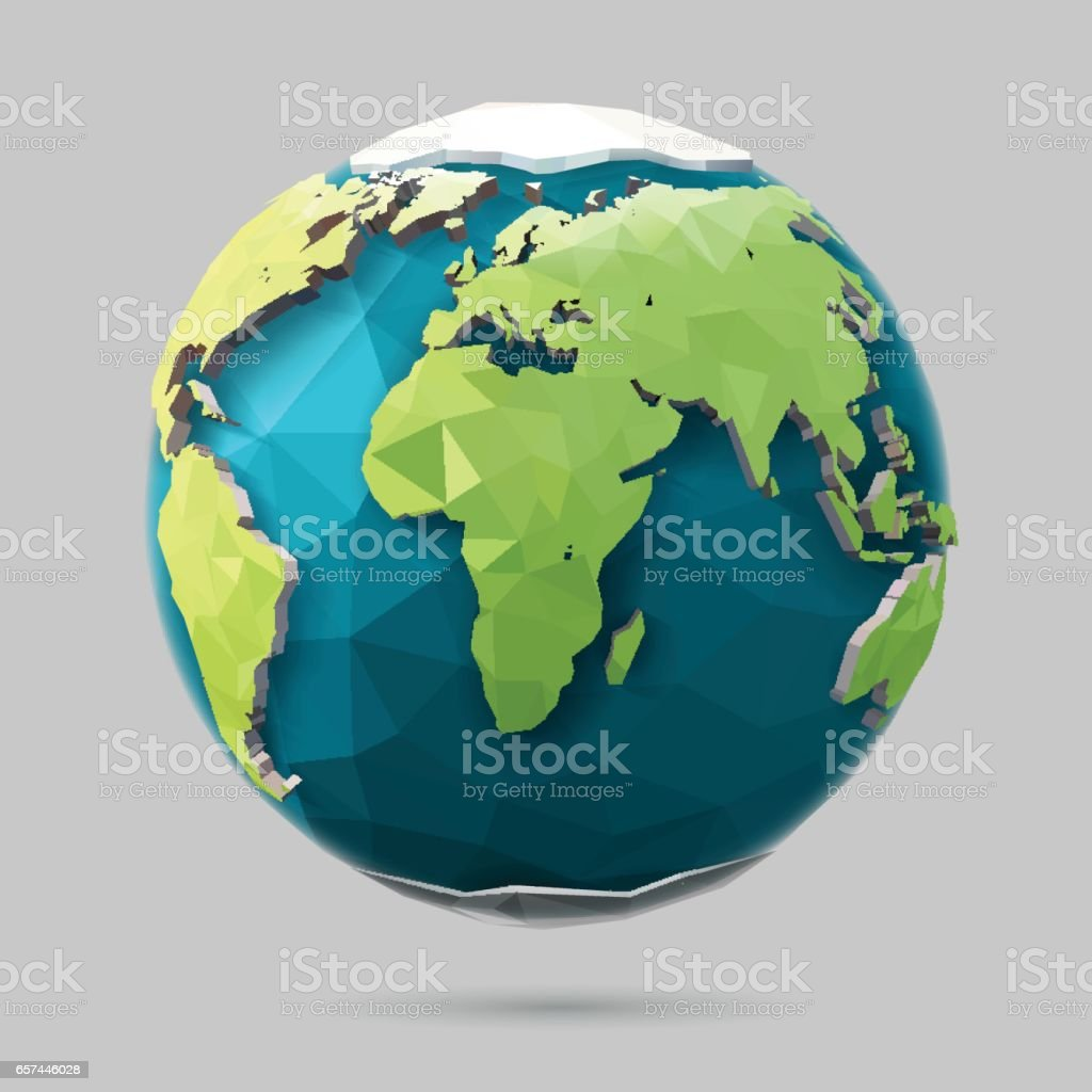Low Poly Earth vector art illustration