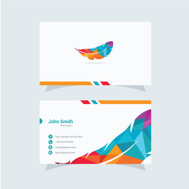 illustrazioni stock, clip art, cartoni animati e icone di tendenza di low poly feather symbol business card vector design template. - piume colorate