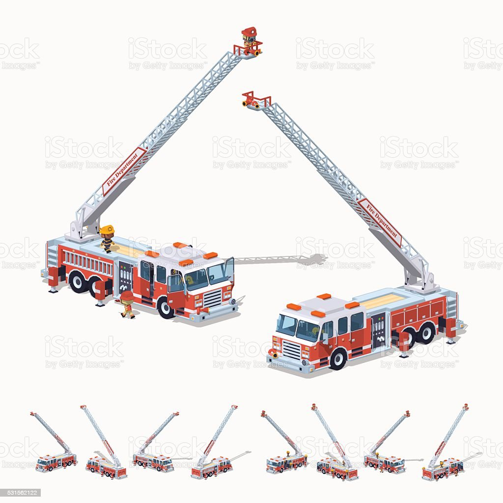 Low poly fire truck vector art illustration