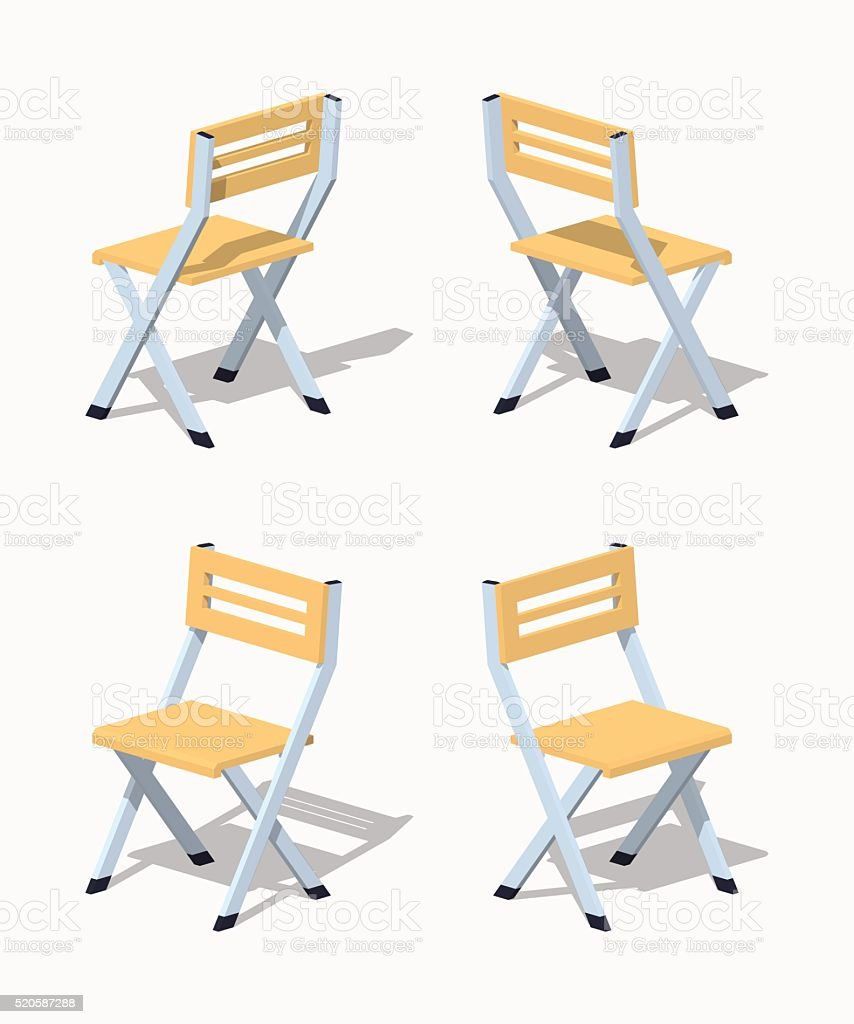 Low poly folding chair vector art illustration