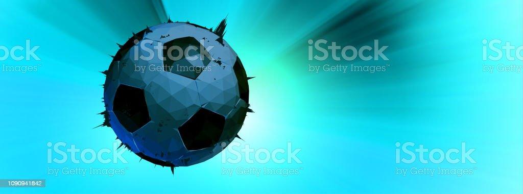Ilustração de futebol baixa poli em iluminado verde bandeira BG - ilustração de arte em vetor