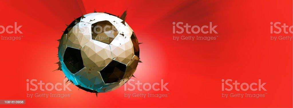 Ilustração de futebol poli baixo na faixa vermelha BG de brilho - ilustração de arte em vetor