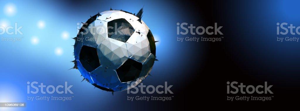 Futebol de baixo poli com holofotes na faixa escura BG - ilustração de arte em vetor