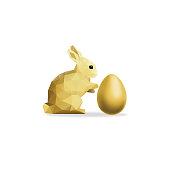 An original artwork vector illustration of a low poly Easter rabbit in yellow gold with a red low poly Easter egg on a flat white background. No lettering. This square composition allows space for your message and may serve as an Easter postcard, flyer, web banner, shop window, poster, POS.