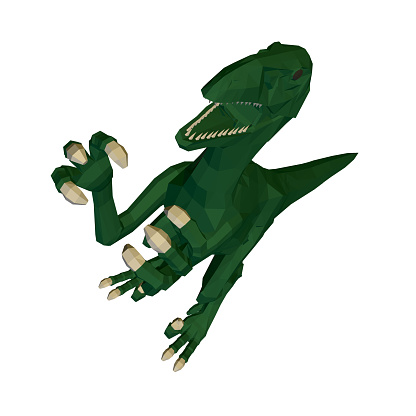 Low poly green dinosaur. Angry dinosaur with raised paws and sharp claws. Perspective view. 3D. Vector illustration