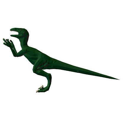 Low poly green dinosaur. Angry dinosaur with raised paws and sharp claws. Side view. 3D. Vector illustration