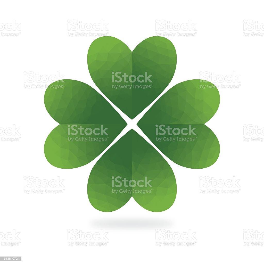 Low Poly Green Four Leaf Clover White Background Stockvectorkunst En